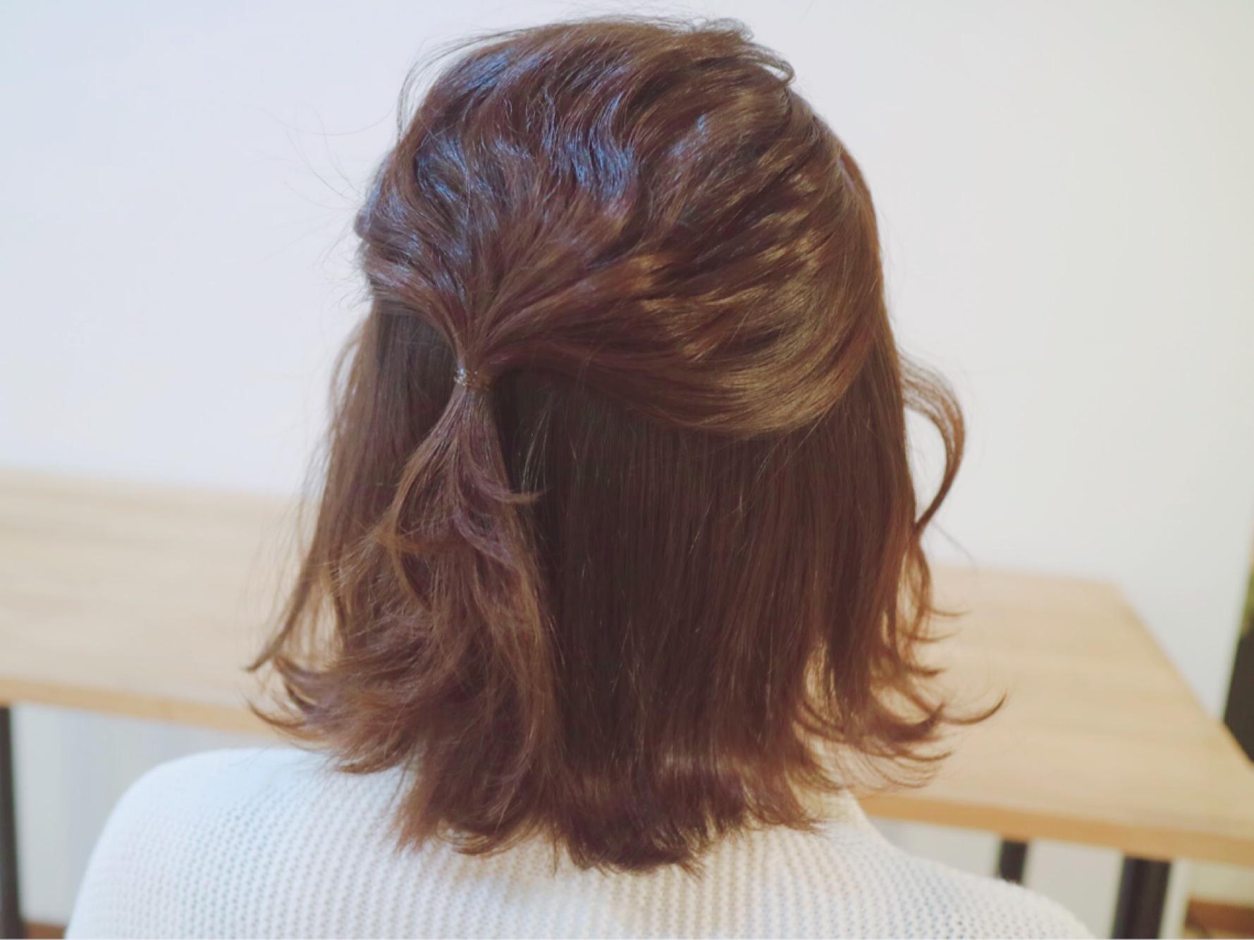 結婚式 髪型 ボブ ハーフアップ